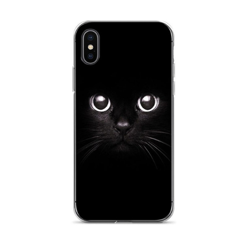 Black Cool Capa 7 plus Cute cat Diy Printing Drawing phone case For iphone 6 6s 7 7plus 8 8plus X xs xr XS Max cses-103